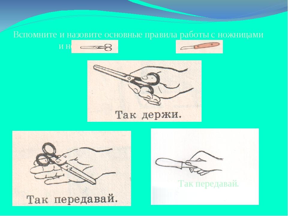 Вспомните и назовите основные правила работы с ножницами и ножом Так передавай.