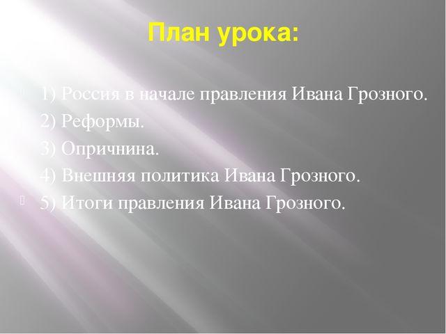 План урока: 1) Россия в начале правления Ивана Грозного. 2) Реформы. 3) Оприч...