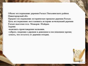 Объект исследования: деревня Раскат Пильнинского района Нижегородской обл. Пр