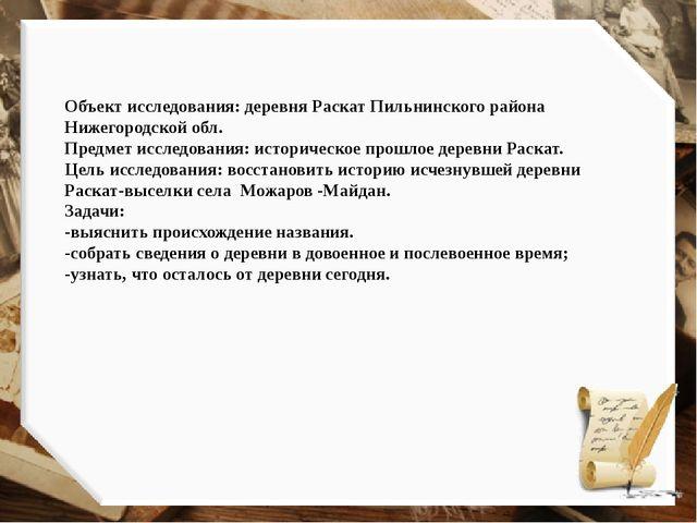 Объект исследования: деревня Раскат Пильнинского района Нижегородской обл. Пр...