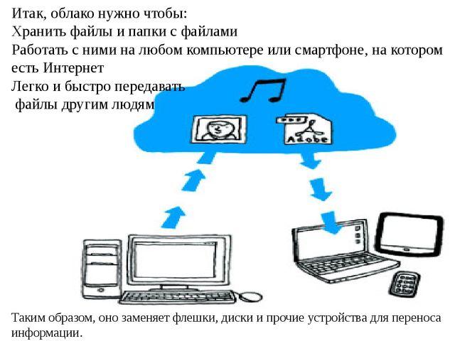 Итак, облако нужно чтобы: Хранить файлы и папки с файлами Работать с ними на...