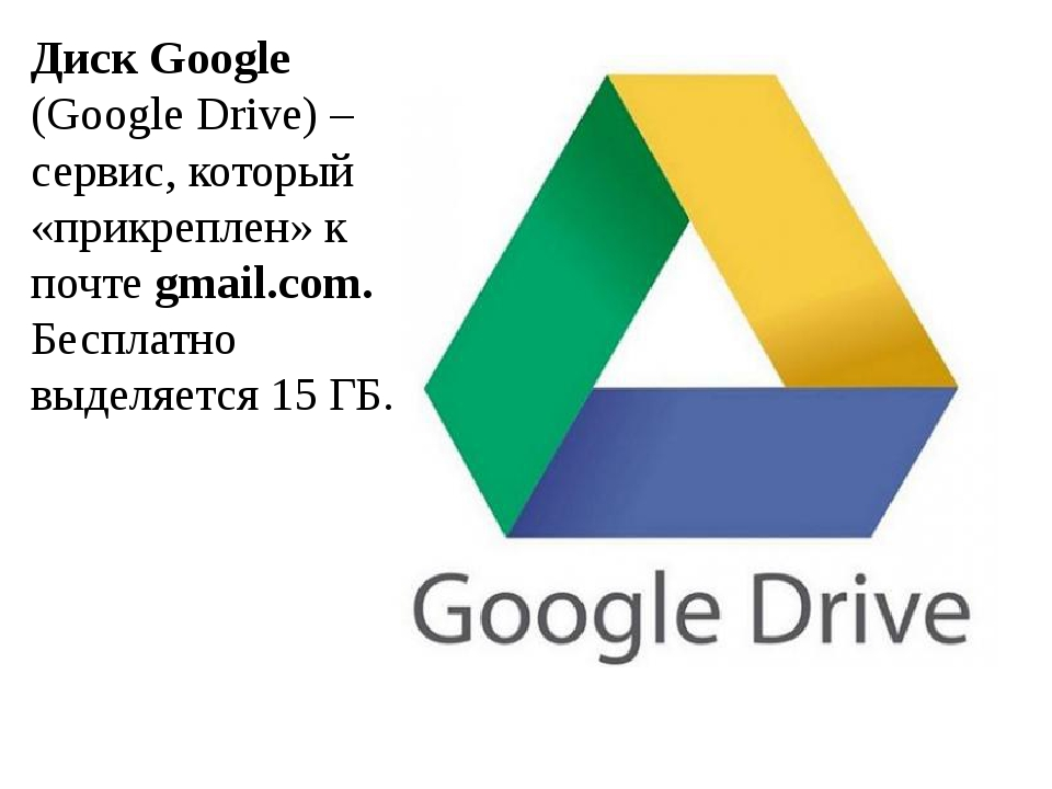 Диск Google (Google Drive) – сервис, который «прикреплен» к почте gmail.com....