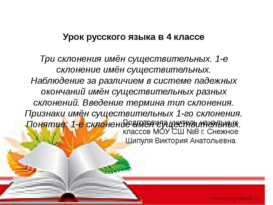 Урок русского языка в 4 классе Три склонения имён существительных. 1-е склон...