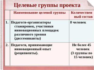 Целевые группы проекта Наименование целевой группыКоличественный состав 1.