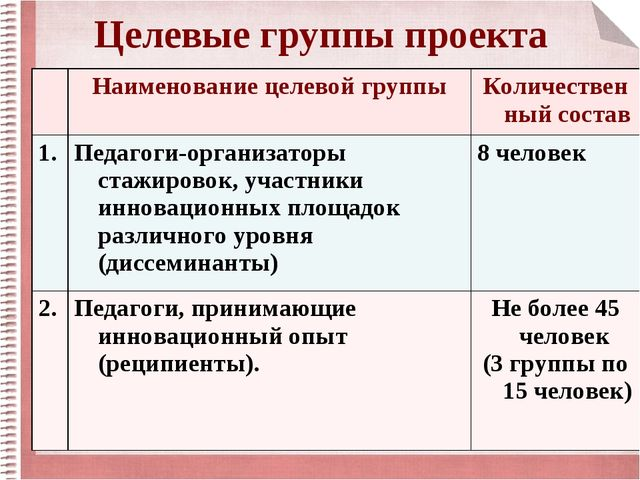 Целевые группы проекта Наименование целевой группыКоличественный состав 1....