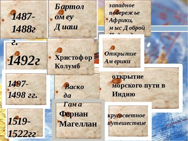 1487-1488гг. 1492г 1497-1498 гг. Бартоломеу Диаш Фернан Магеллан открытие мор...