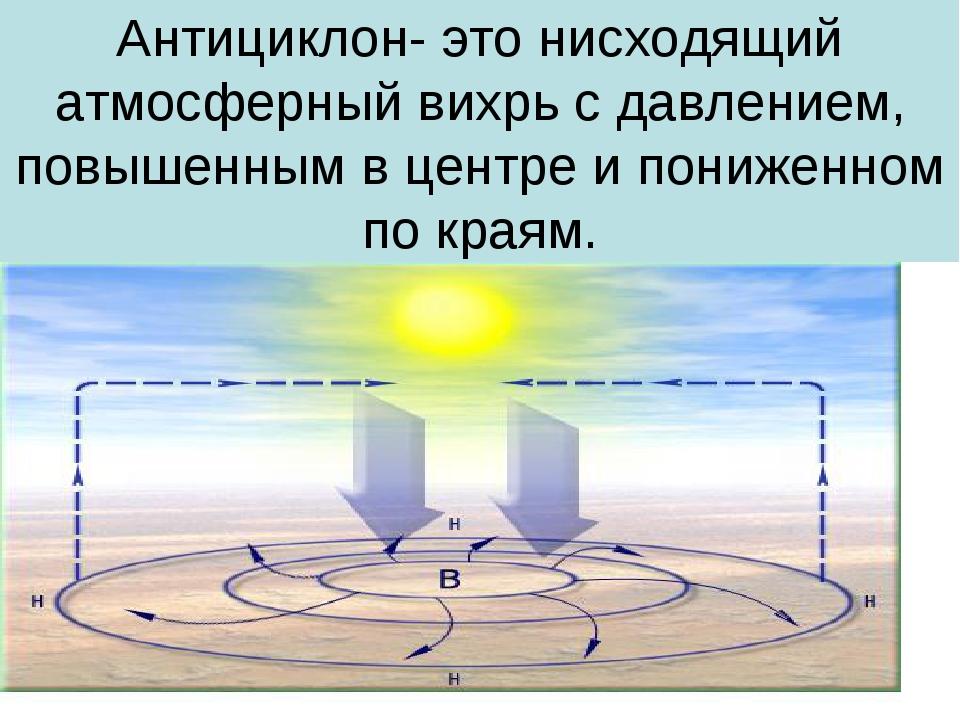 Антициклон- это нисходящий атмосферный вихрь с давлением, повышенным в центре...