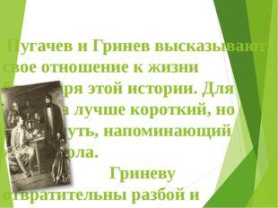 Пугачев и Гринев высказывают свое отношение к жизни благодаря этой истории.
