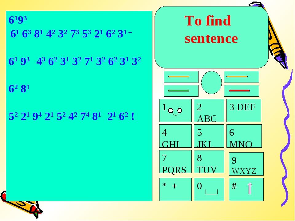 To find sentence 4 GHI 5 JKL 7 PQRS 8 TUV * + 0 # 9 WXYZ 6 MNO 3 DEF 1 2 ABC...