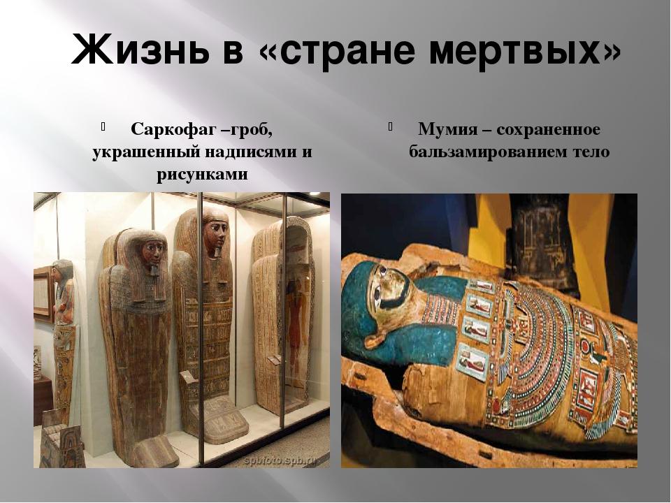 Жизнь в «стране мертвых» Саркофаг –гроб, украшенный надписями и рисунками Мум...