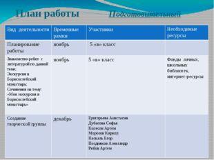 План работы Подготовительный Вид деятельности Временные рамки Участники Необх