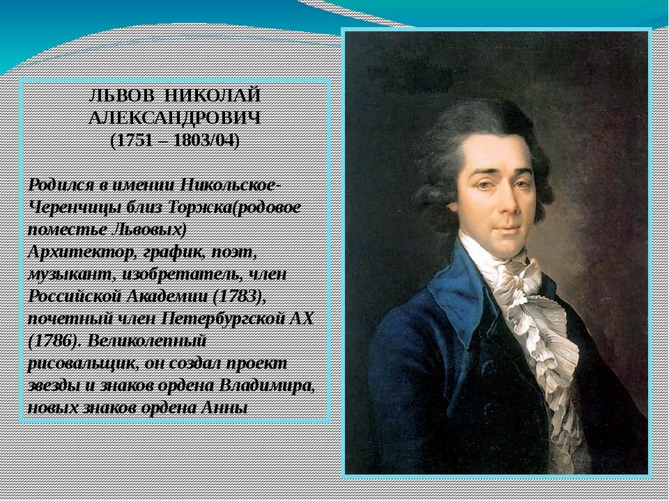 ЛЬВОВ НИКОЛАЙ АЛЕКСАНДРОВИЧ (1751 – 1803/04) Родился в имении Никольское-Чер...