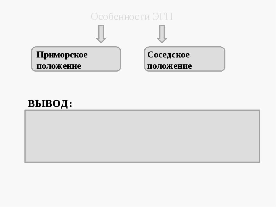Особенности ЭГП Приморское положение Соседское положение ВЫВОД: ЭГП благоприя...
