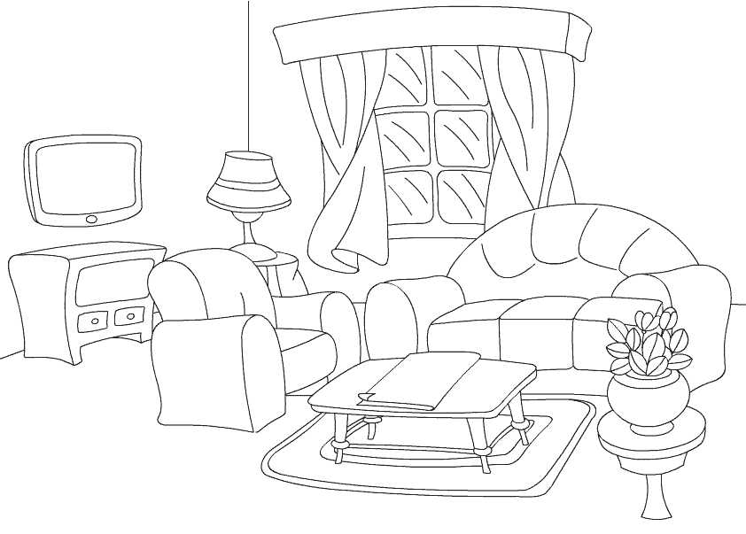 Рисунки раскраски мебель