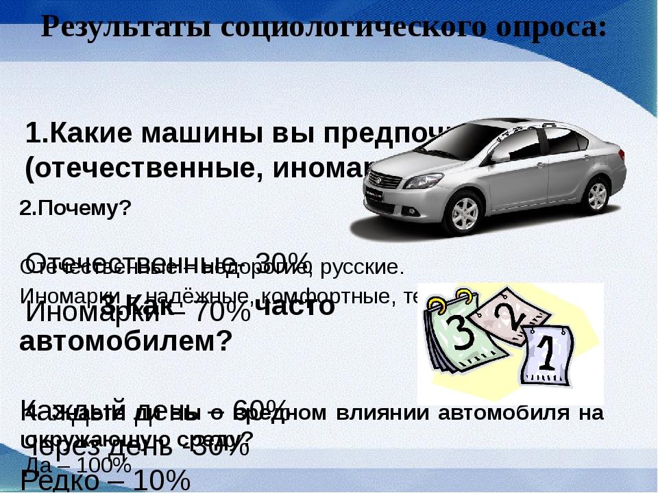 Результаты социологического опроса: 1.Какие машины вы предпочитаете? (отечест...