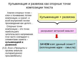 Кульминация и развязка как опорные точки композиции текста Анализ опорных точ