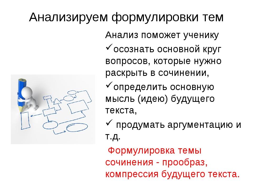 Анализируем формулировки тем Анализ поможет ученику осознать основной круг во...