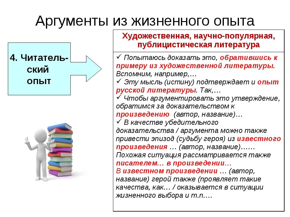 Аргументы из жизненного опыта 4. Читатель- ский опыт Художественная, научно-п...