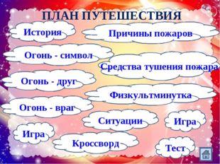 ПЛАН ПУТЕШЕСТВИЯ Огонь - символ Кроссворд Огонь - враг Огонь - друг Причины п