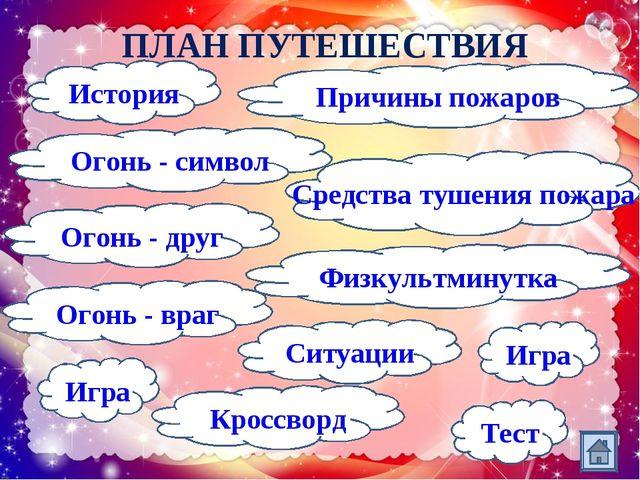ПЛАН ПУТЕШЕСТВИЯ Огонь - символ Кроссворд Огонь - враг Огонь - друг Причины п...