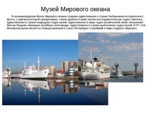 Музей Мирового океана В калининградском Музее Мирового океана создана единств