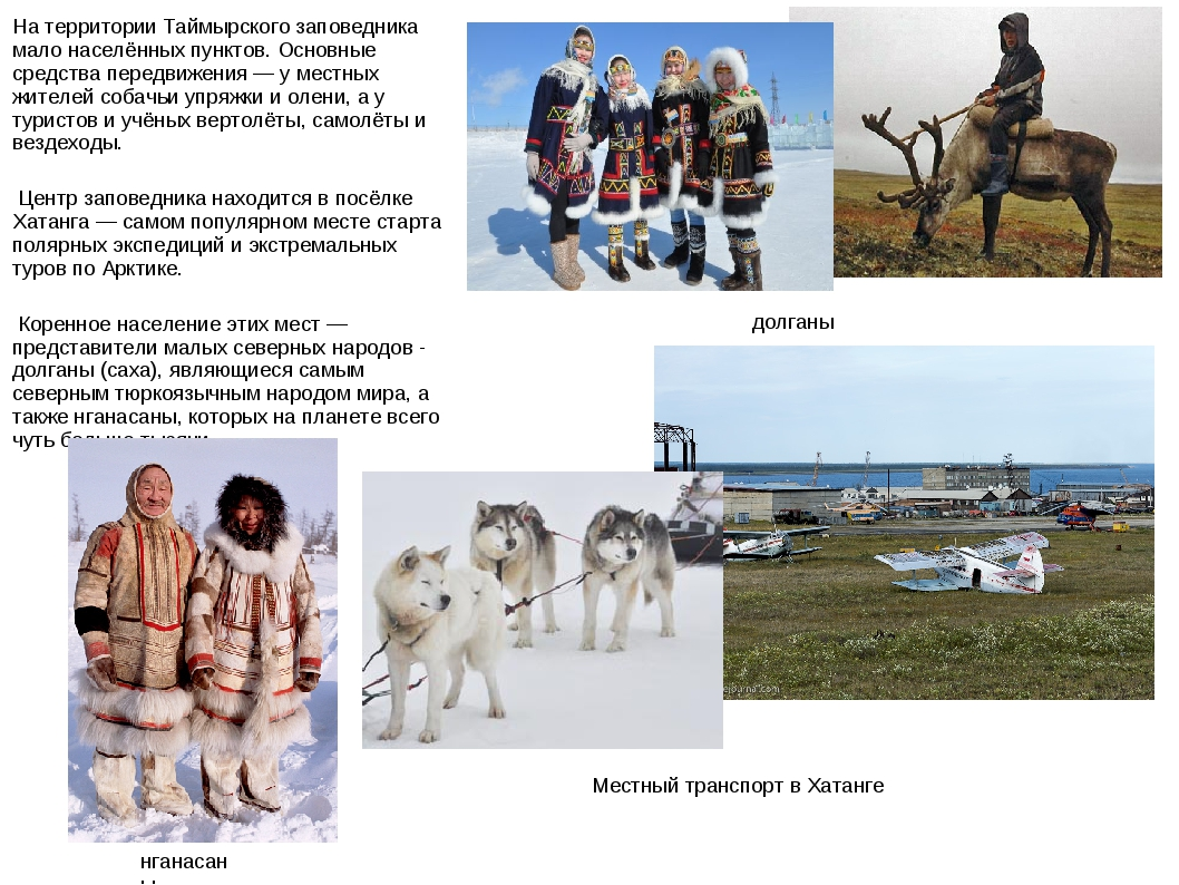 На территории Таймырского заповедника мало населённых пунктов. Основные средс...