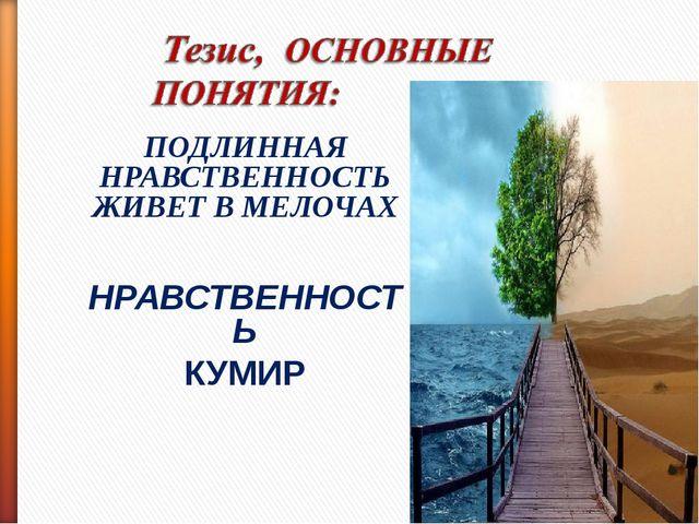 ПОДЛИННАЯ НРАВСТВЕННОСТЬ ЖИВЕТ В МЕЛОЧАХ НРАВСТВЕННОСТЬ КУМИР