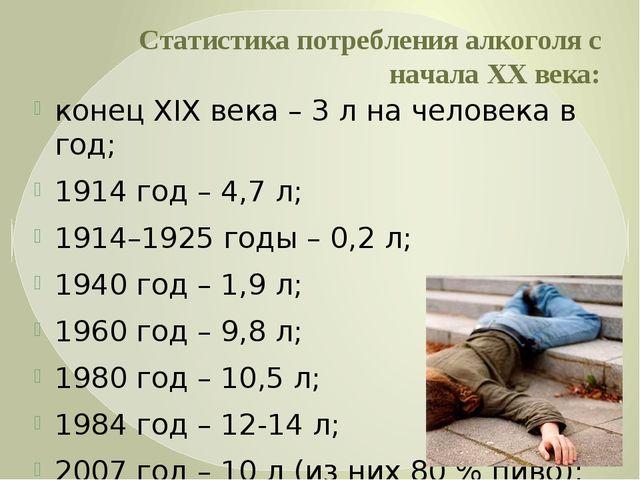 Статистика потребления алкоголя с начала XX века: конец XIX века – 3 л на чел...
