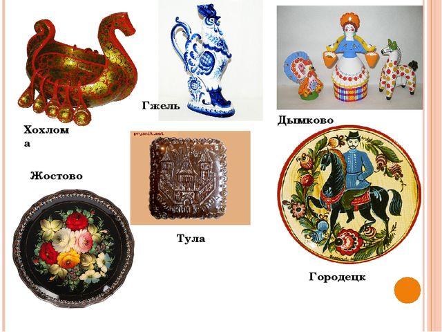Хохлома Дымково Гжель Жостово Городецк Тула