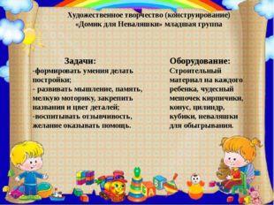 Художественное творчество (конструирование) «Домик для Неваляшки» младшая гру