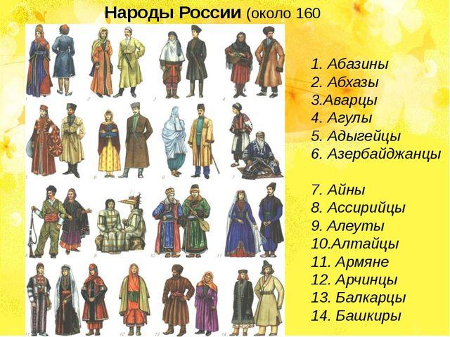 Народы России (около 160 народов) 1.Абазины 2.Абхазы 3.Аварцы 4.Агулы 5....