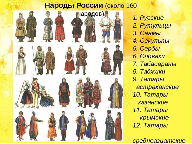1.Русские 2.Рутульцы 3.Саамы 4.Секульпы 5.Сербы 6.Словаки 7.Табасара...
