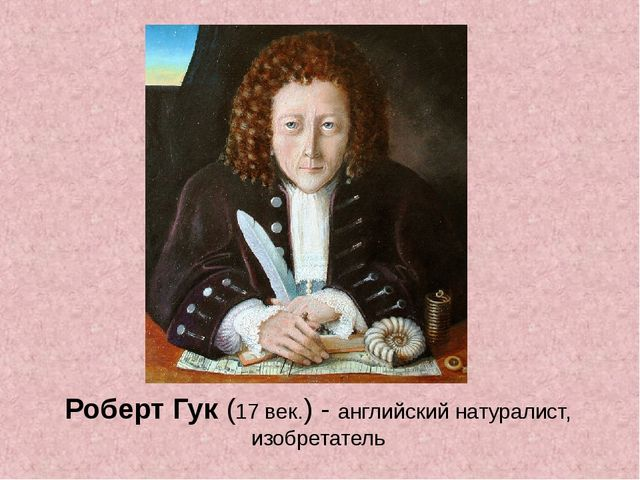 Роберт Гук (17 век.) - английский натуралист, изобретатель