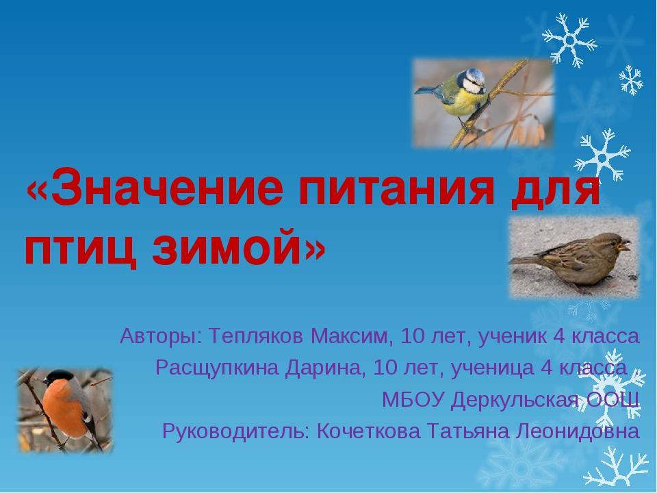 «Значение питания для птиц зимой» Авторы: Тепляков Максим, 10 лет, ученик 4 к...
