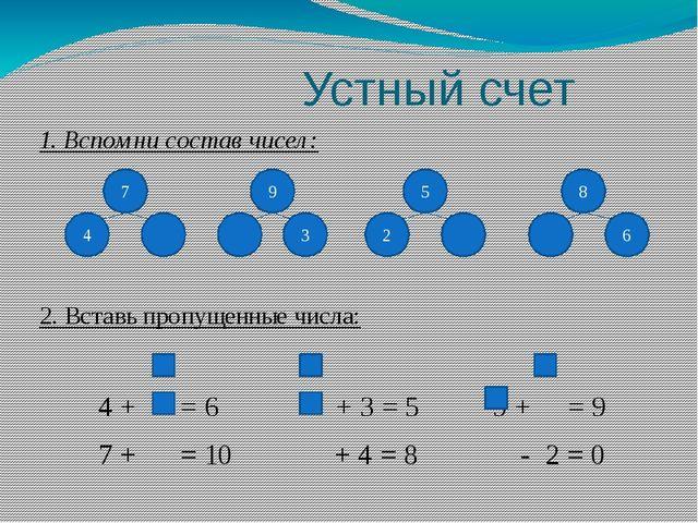 Устный счет 1. Вспомни состав чисел: 2. Вставь пропущенные числа: 4 + = 6 +...