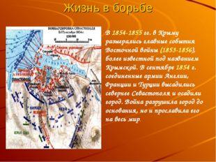 Жизнь в борьбе В 1854-1855 гг. в Крыму разыгрались главные события Восточной
