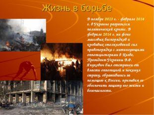Жизнь в борьбе В ноябре 2013 г. - феврале 2014 г. в Украине разразился полити