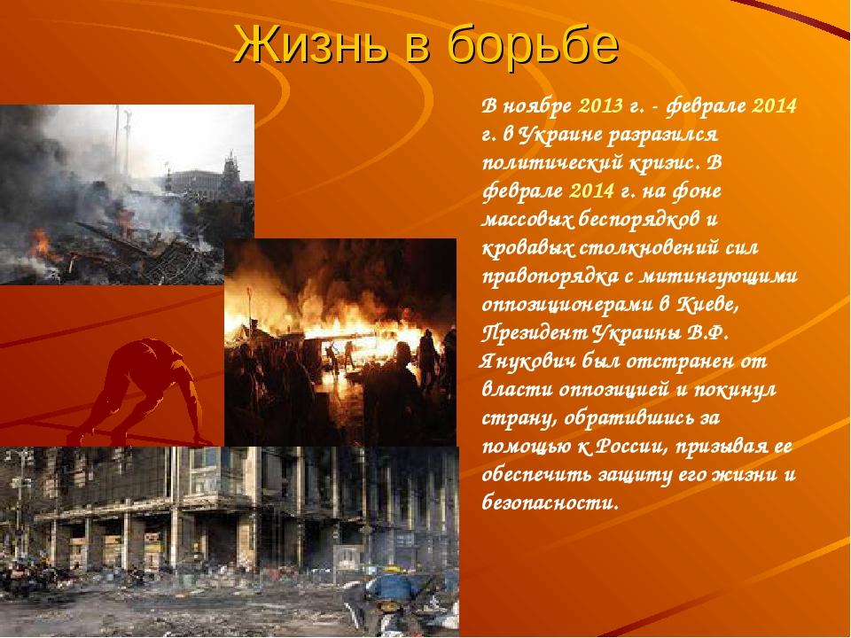 Жизнь в борьбе В ноябре 2013 г. - феврале 2014 г. в Украине разразился полити...
