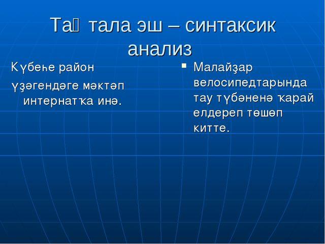 Таҡтала эш – синтаксик анализ Күбеһе район үҙәгендәге мәктәп интернатҡа инә....