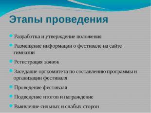 Этапы проведения Разработка и утверждение положения Размещение информации о ф