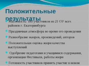 Положительные результаты Массовость: 180 участников из 21 ОУ всех районов г.