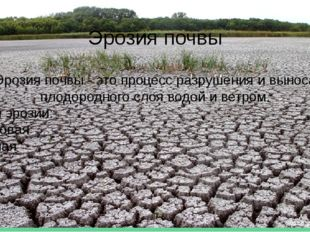 Эрозия почвы Эрозия почвы - это процесс разрушения и выноса плодородного слоя