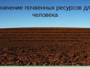 """Значение почвенных ресурсов для человека Фраза """"земля-кормилица"""", которую мы"""