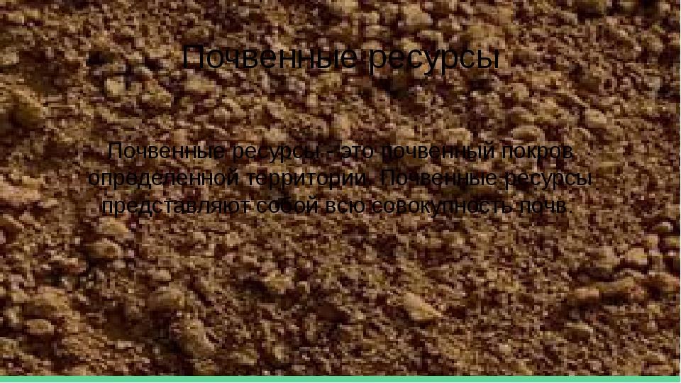 Почвенные ресурсы Почвенные ресурсы - это почвенный покров определенной терри...
