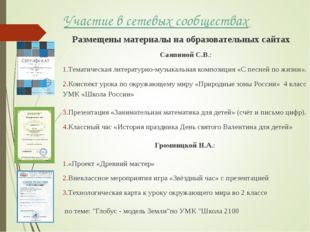 Участие в сетевых сообществах Размещены материалы на образовательных сайтах С