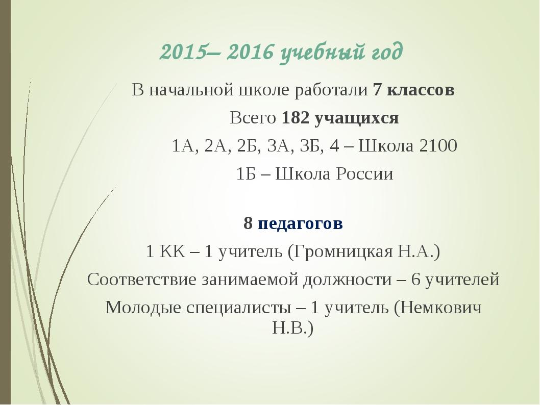 2015– 2016 учебный год В начальной школе работали 7 классов Всего 182 учащихс...