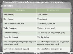 Меняются слова, обозначающие место и время действия: Прямая речь Косвенная р