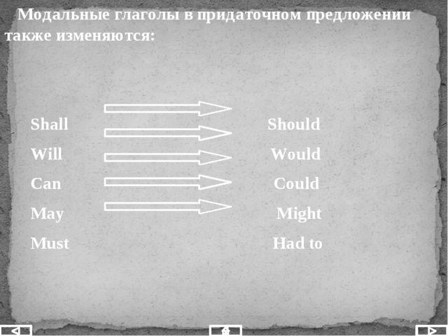 Модальные глаголы в придаточном предложении также изменяются: Shall Should W...