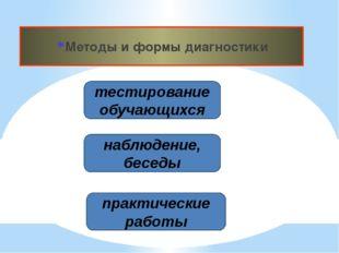 Методы и формы диагностики тестирование обучающихся наблюдение, беседы практи