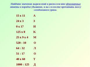 Найдите значения выражений и расположите однозначные ответы в порядке убывани
